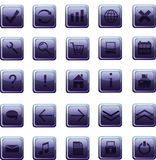 New glass dark blue icons, buttons. Vector illustration Royalty Free Stock Images