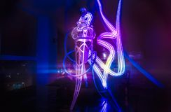 New Glass Hookah with beautiful backlight. In the cafe stock photo