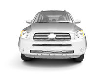 New glossy silver SUV front view Stock Image