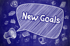 New Goals - Hand Drawn Illustration on Blue Chalkboard. royalty free illustration