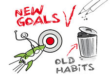 New goals, old habits. Time for change. New Years pledge, to alter something stock illustration