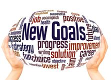 New goals word cloud hand sphere concept stock images