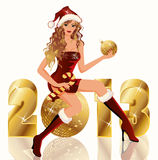 New golden 2013 Year and Santa girl Royalty Free Stock Images