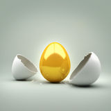 New Golden Egg. A cracked egg revealing a . Concept Royalty Free Stock Photography
