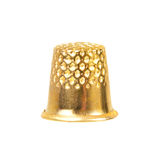 Golden thimble. New golden thimble for sewing isolated on white background cut-out Stock Images