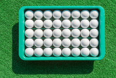 New golf balls in tray on green grass for golf practice. Stock Photography