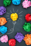 New good ideas, colorful Paper Ball on Blackboard Royalty Free Stock Photo