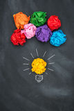 New good ideas, colorful Paper Ball on Blackboard Stock Images