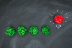 New good ideas, colorful Paper Ball on Blackboard Stock Photography