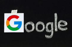New Google logotype printed on paper Royalty Free Stock Photos