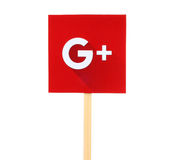 New Google Plus logo sign. Kiev, Ukraine - October 07, 2015: New Google Plus logo sign printed on paper, cut and pasted on wooden stick. Google is USA Royalty Free Stock Image