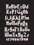 New gothic font. White gothic font with red shadows. Full alphabet set with digits stock illustration