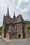The new Gothic parish church in Lorch-Lorchhausen St Bonifatius, Germany stock photos