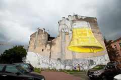New graffiti murals by artist BLU. (Italy), August 1, 2012 in Krakow, Poland. Krakow is famed for its graffiti art Royalty Free Stock Photo
