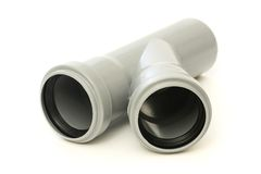 New gray drain pipe. On a white background Stock Photo