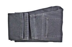 New gray jeans on white background. Isolated with clipping path Stock Photos