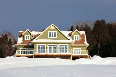 New green country house. With deep blue winter sky and snowy environment Stock Photography