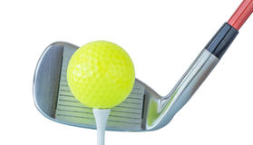 The new green golf ball on tee with driver club on white backgro Royalty Free Stock Image