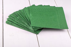 New green napkins  on a white Stock Image