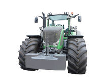 New green powerful tractor isolated over white Royalty Free Stock Images