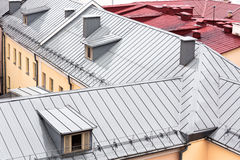 New grey metal roof with dormer windows Royalty Free Stock Photography