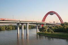 New guyed bridge on Moscow river Stock Images