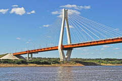 New guyed bridge in Murom, Russia Stock Photo