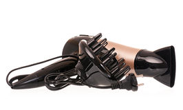 Hair dryer. New hair dryer with different nozzles isolated on white background Royalty Free Stock Photos