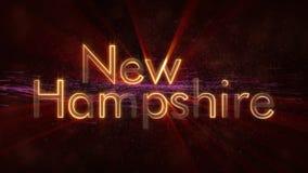 New Hampshire - de Glanzende het van een lus voorzien animatie van de de naamtekst van de staat stock foto