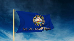 New hampshire flag slider style with title. Waving stock footage