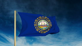 New hampshire flag slider style. Waving in the win. New hampshire flag slider style. Waving with cloud background animation stock footage