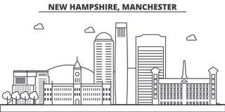 New Hampshire, ligne illustration d'architecture de Manchester d'horizon Paysage urbain linéaire de vecteur avec les points de re Photographie stock