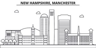 New Hampshire, Manchester architecture line skyline illustration. Linear vector cityscape with famous landmarks, city Stock Photography