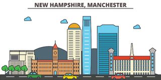 New Hampshire, Manchester.City skyline  Stock Photography