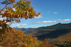 New Hampshire mountain range fall foliage. Beautiful orange and yellow foliage accents mountain range on clear sunny day Royalty Free Stock Image