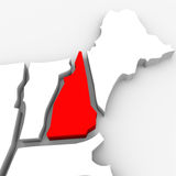 New Hampshire Red Abstract 3D State Map United States America. A red abstract state map of New Hampshire, a 3D render symbolizing targeting the state to find its Royalty Free Stock Photography
