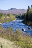 New Hampshire River. Very blue river in White Mountains of New Hampshire snaking toward mountain in background.  Clear blue sky Royalty Free Stock Images