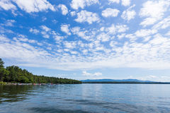 New Hampshire river on bright cloudy blue day. Beautiful New Hampshire river on bright cloudy blue day stock photo