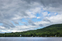 New Hampshire river on bright cloudy blue day. Beautiful New Hampshire river on bright cloudy blue day royalty free stock photography