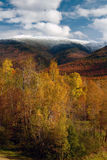 New Hampshire Snow Covered White Mountains in Autumn Stock Image