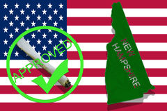 New Hampshire State on cannabis background. Drug policy. Legalization of marijuana on USA flag, Stock Images
