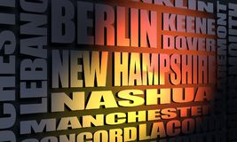 New Hampshire state cities list. Image relative to USA travel. New Hampshire cities and places names cloud. 3D rendering royalty free illustration