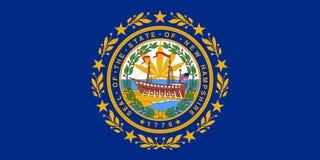 New Hampshire state flag with marijuana leaf stock image