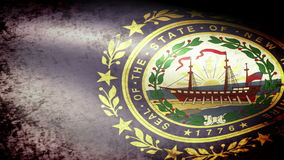 New Hampshire State Flag Waving, grunge look. New Hampshire State Flag Waving grunge look, video footage stock video