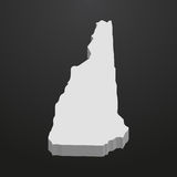 New Hampshire State map in gray on a black background 3d Stock Images