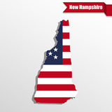 New Hampshire State map with US flag inside and ribbon Stock Photography