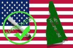 New Hampshire tillstånd på cannabisbakgrund Drogpolitik Legalisering av marijuana på USA flaggan, Arkivbilder