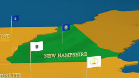 New Hampshire - United States Series with flags Stock Photography