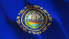New Hampshire-US-Staat fahnenschwenkend auf Wind vereinigt stock abbildung