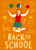 00NEW. Happy cartoon schoolgirl jumping with books. Back to school title. Education poster for your design Stock Photography